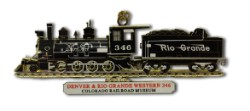 D&RGW Steam Locomotive No. 346 Custom Brass Ornament