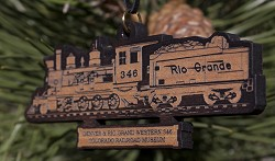 D&RGW Steam Locomotive No. 346 Laser-Cut Wooden Ornament