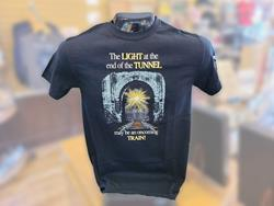 """The LIGHT at the end of the TUNNEL may be..."" Black T-Shirt 2XL"
