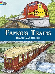 Famous Trains Coloring Book