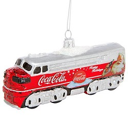 Hand-Crafted Glass Coca-Cola Diesel Locomotive Ornament