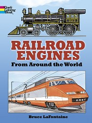 Railroad Engines Around the World Coloring Book