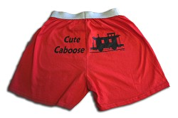 Cute Caboose Boxers Red Medium