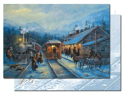 Leanin' Tree Holiday Cards - Old Train Station in Winter