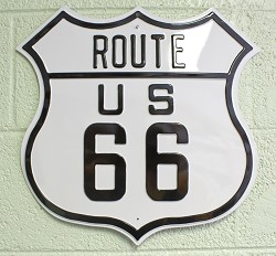 Route 66 - Die-Cut Embossed Tin Sign