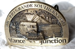 "Rio Grande Southern ""Vance Junction"" 1891-1952 Belt Buckle"
