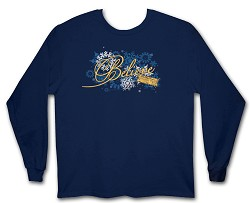 "Polar Express Girls ""Believe"" Long Sleeve Shirt Navy Large"