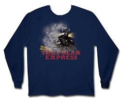 "Polar Express ""Locomotive"" Boys Long Sleeve Shirt Navy XL"