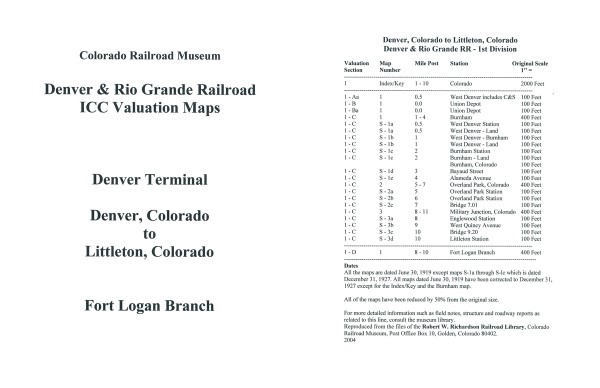 ICC Map Set No. 26 - D&RG Denver, CO to Littleton, CO+