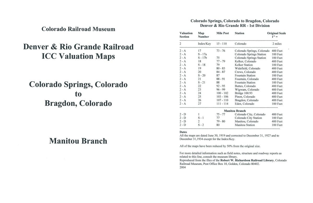 ICC Map Set No. 28 - D&RG Colorado Springs to Bragdon, CO