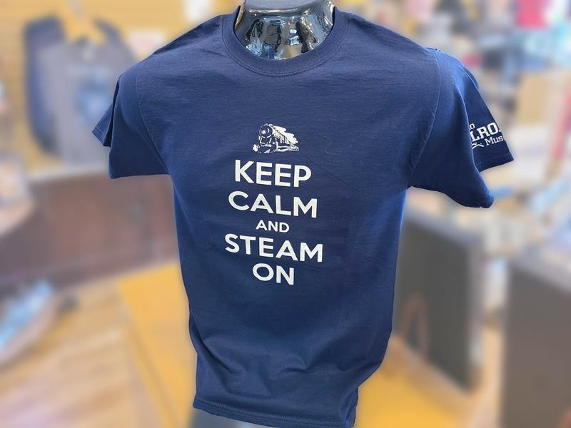 """""""Keep Calm and Steam On"""" Navy Blue T-Shirt"""