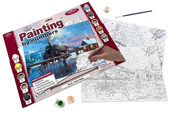 Winter Steam Train Paint by Number,1CR-WM