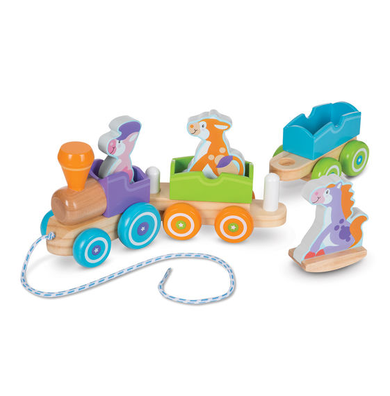 First Play Wooden Rocking Farm Animals Pull Train,4608